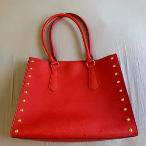 Elizabeth Arden Red Tote with Gold Rivets